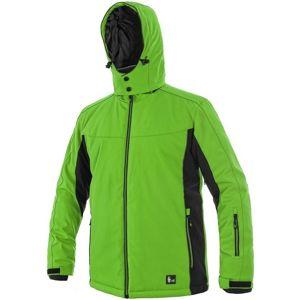 Canis Pánska zateplená softshellová bunda VEGAS - Zelená / černá | XXL