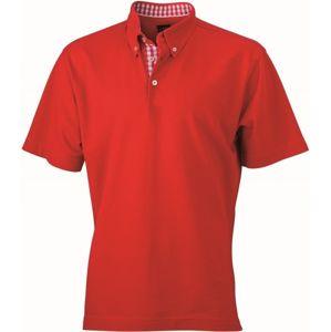 James & Nicholson Elegantná pánska polokošeľa JN964 - Červená / červená / bílá | XL