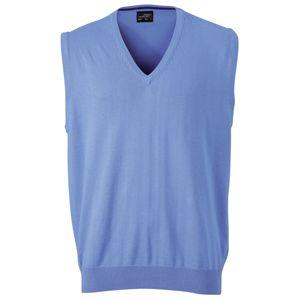 James & Nicholson Pánsky sveter bez rukávov JN657 - Ledově modrá | XL