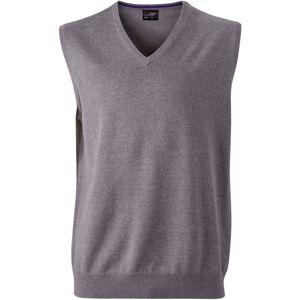 James & Nicholson Pánsky sveter bez rukávov JN657 - Šedý melír | S