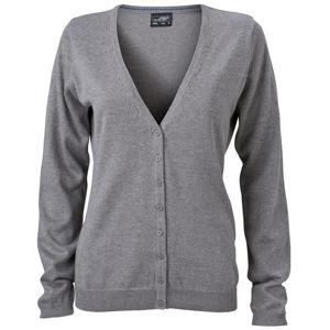 James & Nicholson Dámsky bavlnený sveter JN660 - Šedý melír   XL