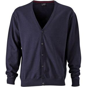 James & Nicholson Pánsky bavlnený sveter JN661 - Tmavě modrá | S