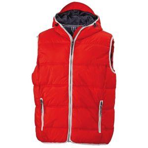 James & Nicholson Pánska vesta s kapucňou JN1076 - Červená / bílá | XXL