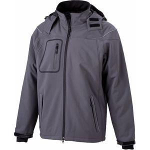 James & Nicholson Zimná pánska softshellová bunda JN1000 - Tmavě šedá | L