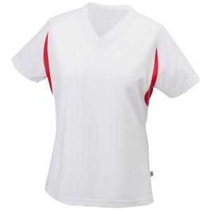 James & Nicholson Dámske športové tričko s krátkym rukávom JN316 - Bílá / červená   XXL