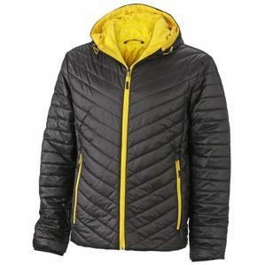 James & Nicholson Ľahká pánska obojstranná bunda JN1092 - Černá / žlutá | S