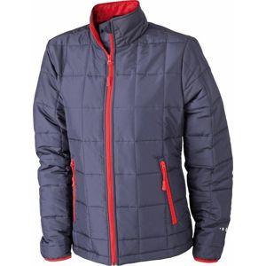 James & Nicholson Dámska polstrovaná bunda JN1034 - Tmavě modrá / červená | XXL