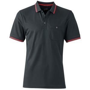 James & Nicholson Pánska športová polokošeľa JN702 - Černá / červená | L
