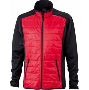 James & Nicholson Pánska športová bunda JN593 - Černá / červená / černá | XXL