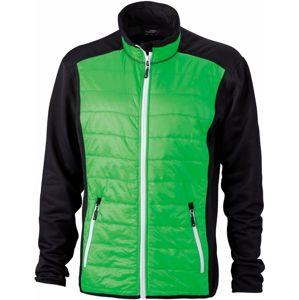 James & Nicholson Pánska športová bunda JN593 - Černá / zelená / bílá | XL