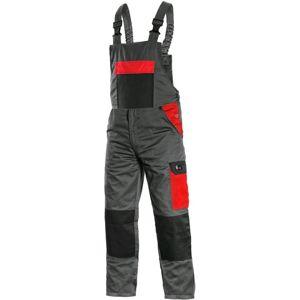 Canis Pracovné nohavice s náprsenkou PHOENIX CRONOS - Šedá / červená | 64