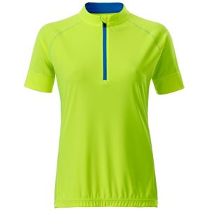 James & Nicholson Ladies Bike-T Half Zip - Jasně žlutá / jasně modrá | XXL