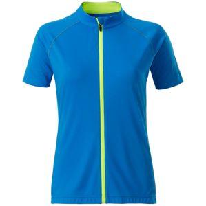 James & Nicholson Dámsky cyklistický dres na zips JN515 - Jasně modrá / jasně žlutá | L
