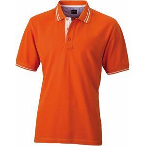 James & Nicholson Pánska polokošeľa JN947 - Tmavě oranžová / bílá | M