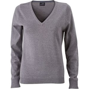 James & Nicholson Dámsky bavlnený sveter JN658 - Šedý melír   S