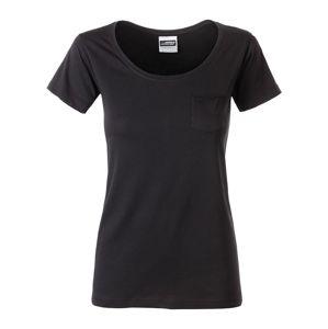 James & Nicholson Dámske tričko z biobavlny 8003 - Černá | M