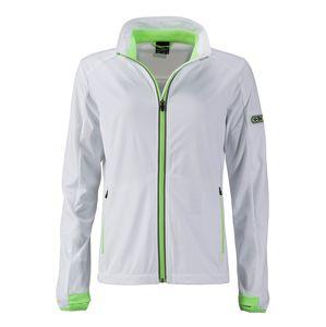 James & Nicholson Dámska športová softshellová bunda JN1125 - Bílá / jasně zelená | XXL