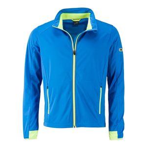 James & Nicholson Pánska športová softshellová bunda JN1126 - Jasně modrá / jasně žlutá | XXL