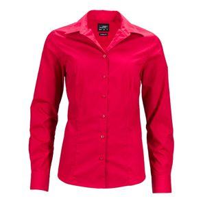 James & Nicholson Dámska košeľa s dlhým rukávom JN641 - Červená | XXXL