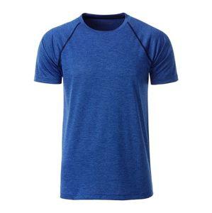 James & Nicholson Pánske funkčné tričko JN496 - Modrý melír / tmavě modrá | XL