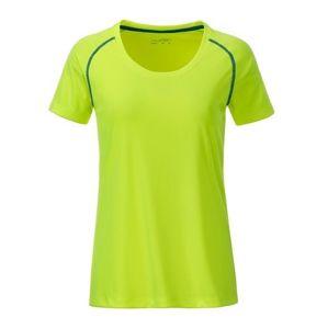 James & Nicholson Dámske funkčné tričko JN495 - Jasně žlutá / jasně modrá | XXL