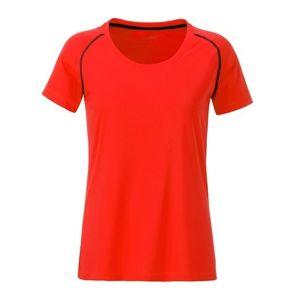 James & Nicholson Dámske funkčné tričko JN495 - Jasně oranžová / černá | L