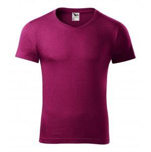 Adler Pánske tričko Slim Fit V-neck - Světle fuchsiová   XXXL