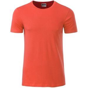 James & Nicholson Klasické pánske tričko z biobavlny 8008 - Korálová   L