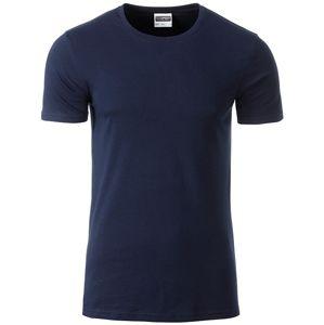 James & Nicholson Klasické pánske tričko z biobavlny 8008 - Tmavě modrá   S