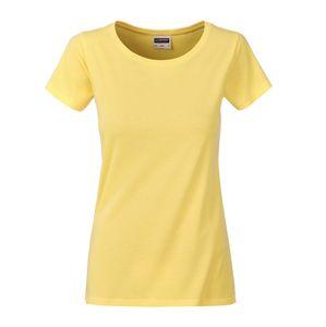 James & Nicholson Klasické dámske tričko z biobavlny 8007 - Světle žlutá | L