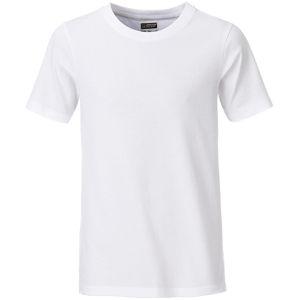 James & Nicholson Klasické chlapčenské tričko z biobavlny 8008B - Bílá | XS