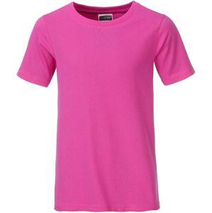 James & Nicholson Klasické chlapčenské tričko z biobavlny 8008B - Růžová | L