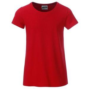 James & Nicholson Klasické dievčenské tričko z biobavlny 8007G - Červená | XS